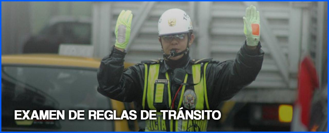 EXAMEN DE REGLAS DE TRANSITO